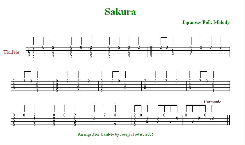 Sakura Japanese Folk Melody Little Ukulele
